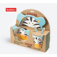 儿童餐具 环保竹纤维盘叉勺杯碗套装 卡通图案喂养餐具