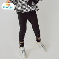 【25折价:34.75】马卡乐童装下装女宝宝2019秋新品女童裤脚印花打底长裤