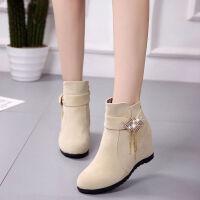 秋冬季雪地靴女短筒学生韩版短靴女马丁保暖棉靴内增高女鞋子 米色 37