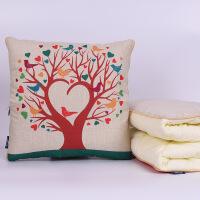 棉麻抱枕被多功能沙发靠垫被抱枕被