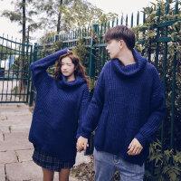 情侣装秋冬装宽松bf加厚高龄毛衣女外套潮流男韩版纯色休闲针织衫 蓝色