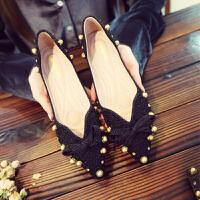 尖头平底鞋女浅口单鞋春秋新款韩版瓢鞋水钻铆钉孕妇