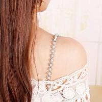 2018新品防滑隐形胸罩带子 一字领性感内衣文胸吊带 百搭珍珠水钻肩带