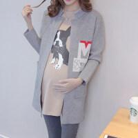 春装孕妇装宽松字母孕妇毛衣中长款针织外套春秋季时尚款毛衣开衫 灰色 均码