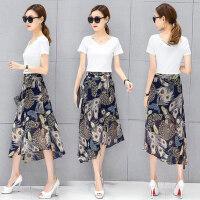 时尚气质V领花色两件套 新款时尚套装高腰雪纺连衣裙女 韩版中长款半身长裙两件套女
