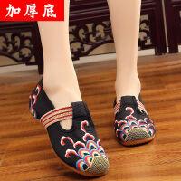 老北京布鞋民族风绣花鞋女鞋平底坡跟圆头牛筋底妈妈鞋跳舞鞋单鞋