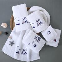【人气】媲美洁丽雅 五星级酒店毛巾纯棉卡通绣花洗脸巾大毛巾儿童可爱吸水全棉 白色2条装