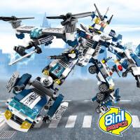 积木变形玩具金刚合体儿童积木益智8合1机器人