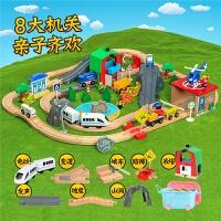 木质轨道车电动小火车套装轨道 木制儿童益智拼装玩具车