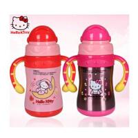 Hello Kitty不锈钢儿童保温杯新款正品 双手柄创意真空吸管学饮杯