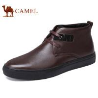 camel 骆驼男鞋 冬季新款休闲套脚皮鞋软底减震男保暖皮鞋单鞋