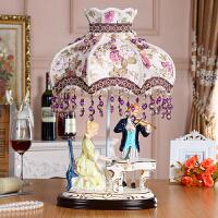 高档奢华欧式摆件客厅家居装饰工艺品陶瓷人物弹钢琴摆设创意礼品 情侣合奏 台灯153A1