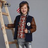 小虎宝儿男童羊毛呢子大衣 儿童外套棒球款中大童韩版冬装童装