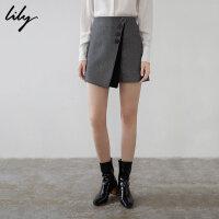 【开学季到手价:229元】 Lily春新款女装商务不对称灰色斜纹裙裤休闲裤119100C5210