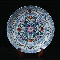 景德镇陶瓷器 高档仿古青花斗彩缠挂盘坐摆盘现代中式收藏工艺品