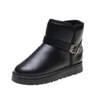 冬季皮面雪地靴女款防滑水短筒保暖加绒厚短靴韩版靴子女大码棉鞋 黑色 (黑色皮面男女同款)