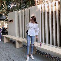 2019白衬衫早秋长袖衬衣女网红泡泡袖上衣 白色【现货】