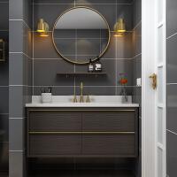 洗簌台北欧浴室柜组合现代简约卫生间洗漱台厕所洗脸洗手盆柜挂墙式