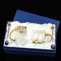 欧式珐琅彩水杯玻璃杯子 耐热泡菊花茶咖啡牛奶杯套装 女漂亮礼品 菊花高矮组合款+珐琅勺+礼盒 +杯垫+擦杯布