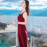 夏季女装系带雪纺吊带连衣裙长裙海边度假沙滩裙 红色 AQ17A692