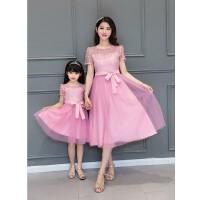 蕾丝连衣裙公主裙修身显瘦中长款新款潮韩版母女装亲子装夏装