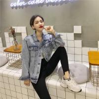 韩风春季个性破洞宽松休闲短款牛仔外套女2019新款潮牛仔衣