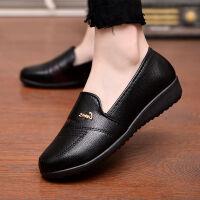 秋季妈妈鞋单鞋中年软底平底鞋舒适妈妈鞋休闲皮鞋工作鞋女鞋