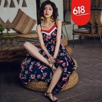 海边度假沙滩裙2018新款女夏泰国巴厘岛碎花吊带露肩显瘦连衣裙 花色