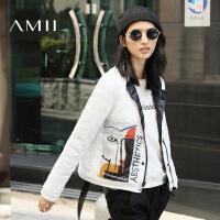 【双十一特价福利款】AMII[极简主义]冬装大码休闲两面穿修身轻薄立领羽绒服女短款