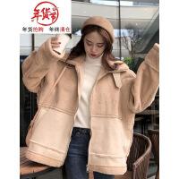 2018新款冬季女装韩版宽松仿羊羔毛皮毛一体加厚保暖棉衣外套 均码