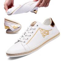 皮鞋男夏季新品新款休闲运动板鞋皮鞋头层牛皮软底低帮系带韩版潮流青年男士鞋 白色