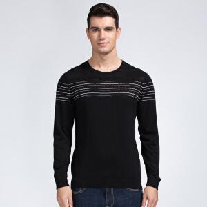 才子男装(TRIES)针织衫 男士2017年新款百搭细条纹修身版圆领长袖休闲针织衫