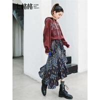 七格格长袖假两件连衣裙秋装女2018新款潮韩版荷叶边拼接红色裙子