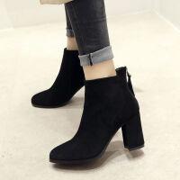 靴子女2018新款粗跟短靴高跟裸靴韩版小短靴时装短筒靴秋冬瘦瘦靴