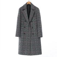 秋冬季青年韩版男士加厚毛呢大衣中长款原宿风宽松风衣格子外套潮
