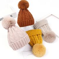 秋冬儿童帽子宝宝大毛球针织护耳帽时尚男女童套头帽亲子毛线帽