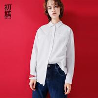 初语2017秋季新品衬衫 白色复古街潮数字长袖纯色衬衣绣花上衣