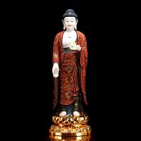 西方三圣汉白玉佛像站像手工彩绘金镶玉阿弥陀佛家居供奉观音摆件