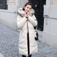 羽绒女中长款韩版chic棉衣冬天外套2018冬装新款加厚过膝棉袄 白色 M