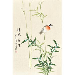 河南美术家协会会员许鲁四尺三开花鸟画gh04798