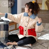轩之婷 加厚加绒睡衣女冬季珊瑚绒三层夹棉可外穿休闲可爱家居服超厚套装