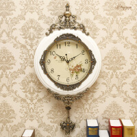 豪华欧式挂钟客厅实木摆钟创意艺术壁挂钟表田园静音复古装饰时钟SN4442 16英寸