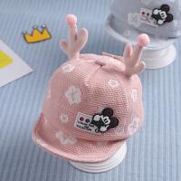 婴儿帽子女宝宝鸭舌帽秋冬6-12个月棒球帽秋宝宝1一2岁