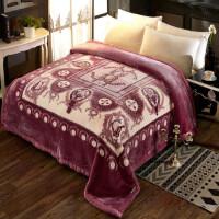 毛毯超柔拉舍尔毛毯被子加厚双人双层冬季毯子保暖盖毯 天丝绒大红8斤紫色 LT70X2-6风范 200cmx230cm