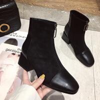 靴子女2019秋款网红瘦瘦靴女切尔西靴马丁靴女英伦风短靴春秋单靴 黑 色