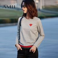 【AMII 超级品牌日】Amii[极简主义]2017秋季新款圆领套头桃心绣花撞色棉质休闲卫衣女