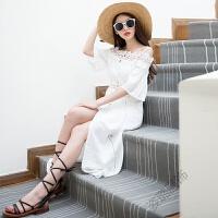 一字领露肩白色棉麻吊带连衣裙海边度假开叉长裙沙滩裙 白色