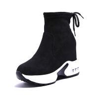 秋冬季厚底2019新款马丁靴女内增高坡跟短靴韩版百搭磨砂单靴子