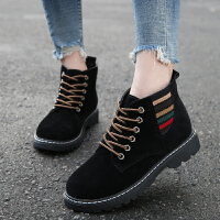 2019冬季新款女鞋短靴女磨砂单靴小低跟百搭切尔西靴子棉靴雪地靴