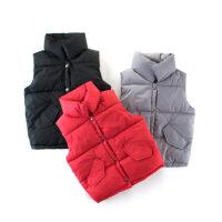 马甲背心儿童童装保暖春秋冬季纯棉款女童开衫外套立领棉连帽